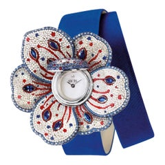 Watch White Gold White Diamonds Sapphires Ruby Satin Strap Decorated Micromosaic