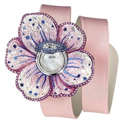 Watch White Gold White Diamonds Sapphires Satin Strap Hand Decorated Micromosaic