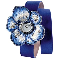 Watch White Gold White Diamonds Titanium Blue Sapphires Satin Strap Micromosaic