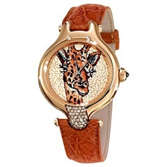 Watch Yellow Gold Brown Diamonds Sapphires Alligator Strap Decorated Micromosaic