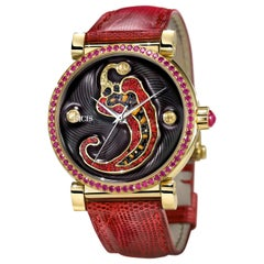Watch Yellow Gold Sapphires Ruby Lizard Strap Handdecorated with MicroMosaic