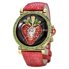Watch Yellow Gold Tsavorite Galuchat Strap Hand Decorated with Micro Mosaic