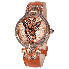 Watch Yellow Gold White and Brown Diamonds Sapphires Alligator Strap Micromosaic