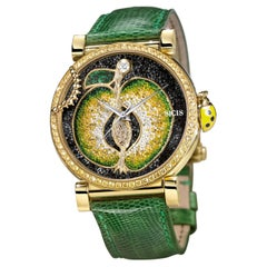 Watch Yellow Gold White Diamond Sapphires Lizard Strap Handdecorated Micromosaic