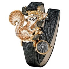 Watch Yellow Gold White Diamonds Onyx Guilloche Dial Quilted Jeans Strap