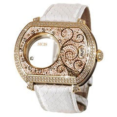 Watch Yellow Gold White Diamonds Python Strap Hand Decorated with Micro Mosaic