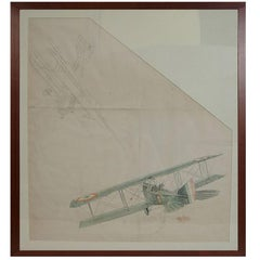 Water-Color and Pencil Drawing Representing Two Biplanes of the WWI