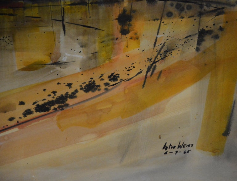 The vibrant golds, oranges, and subtle blues will grab you in this City Scape watercolor by Anton Weiss. It is dated 6-9-1965. The sun is shining over the city skyline and the artists style will entice you to study his work. The watercolor is nicely