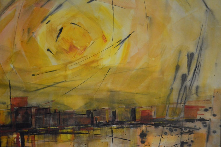 20th Century Water Color City Scape by Anton Weiss, 1965 For Sale