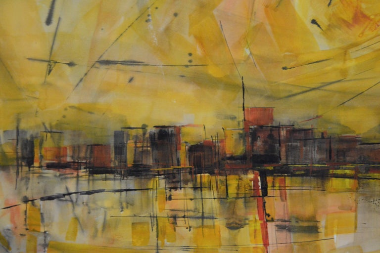 Paper Water Color City Scape by Anton Weiss, 1965 For Sale