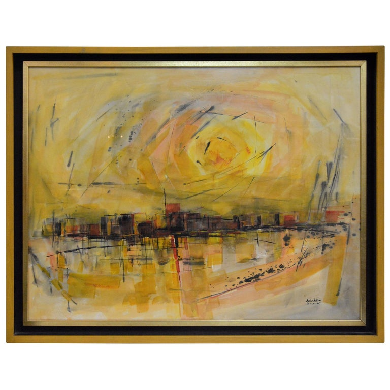 Water Color City Scape by Anton Weiss, 1965 For Sale