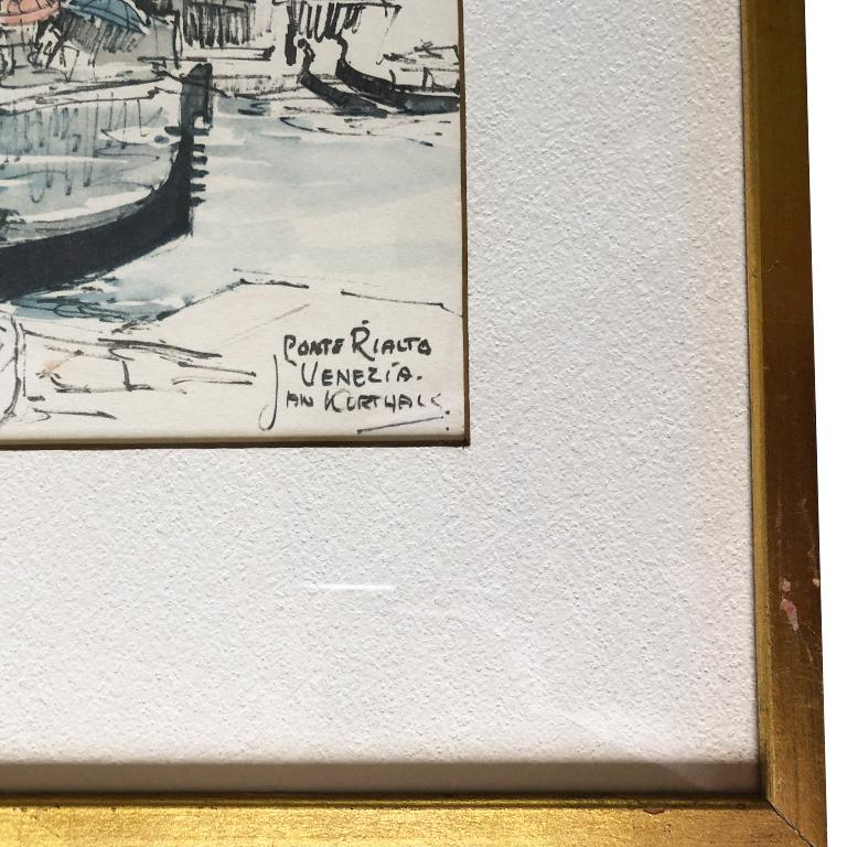 Water Color Prints of Venezia a Pair with Gilt Frames Signed Jan Korthals For Sale 3