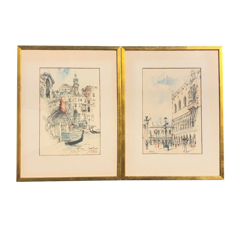 Beautiful pair of watercolor prints by Amsterdam artist Jan Korthals. Although we think these are prints, they could be original watercolors. (we are afraid to look and break the sealed back on the frame.) This is a pair of two. Each has a giltwood