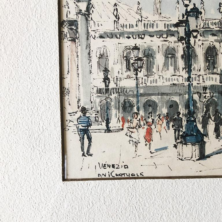 American Classical Water Color Prints of Venezia a Pair with Gilt Frames Signed Jan Korthals For Sale