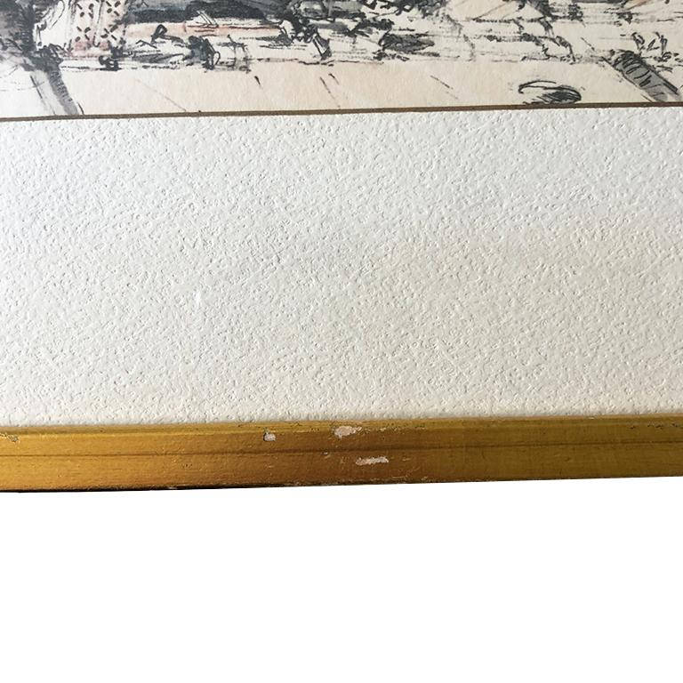 Italian Water Color Prints of Venezia a Pair with Gilt Frames Signed Jan Korthals For Sale