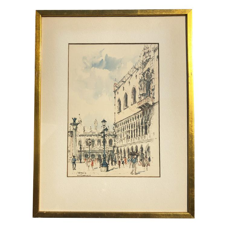 Mid-20th Century Water Color Prints of Venezia a Pair with Gilt Frames Signed Jan Korthals For Sale
