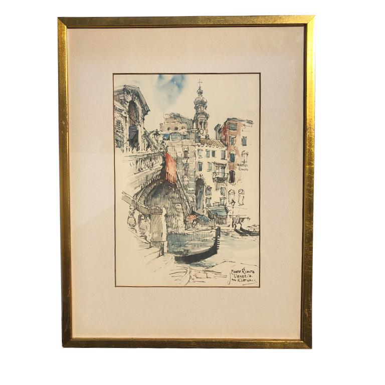 Wood Water Color Prints of Venezia a Pair with Gilt Frames Signed Jan Korthals For Sale