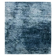 Water Design Blue Hand-knotted Wool & Silk Rug