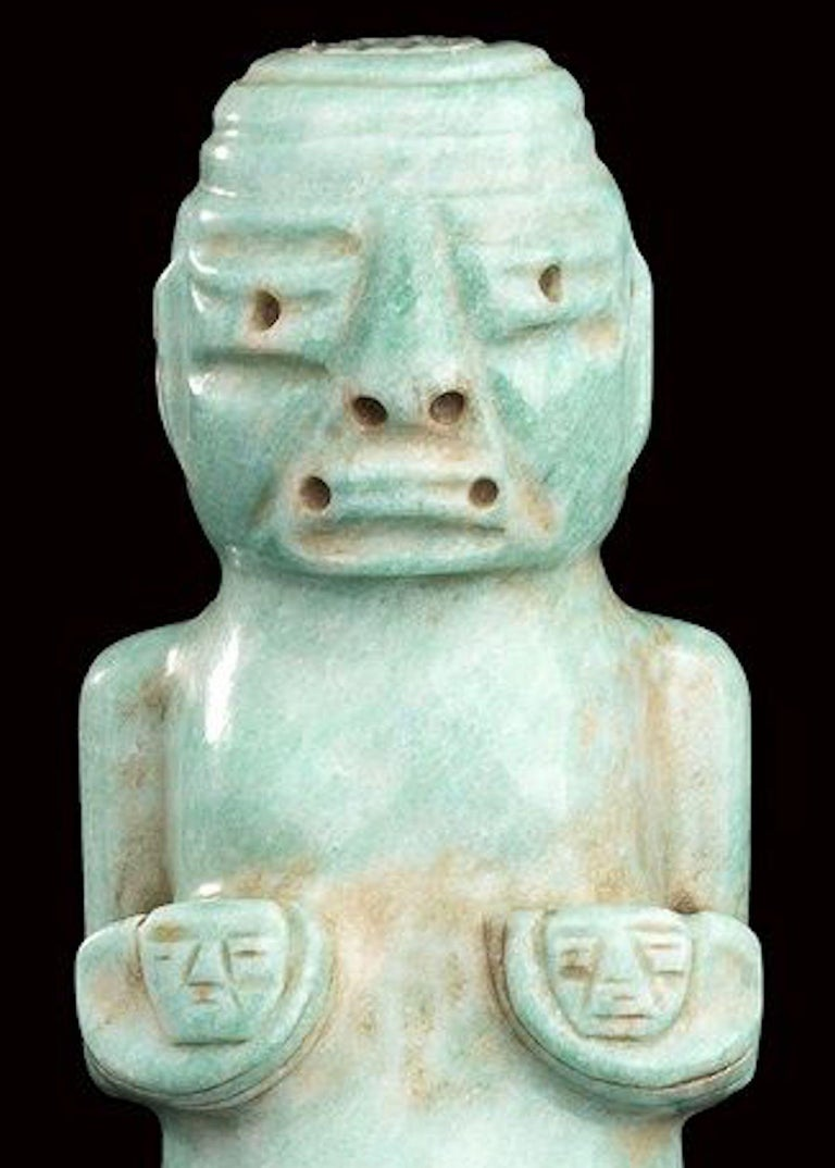 Water Green Jade Figure Olmec-Style, Mexico In Good Condition For Sale In Roma, IT