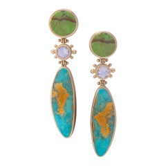 Water Maiden Turquoise and Gaspeite Post Earrings