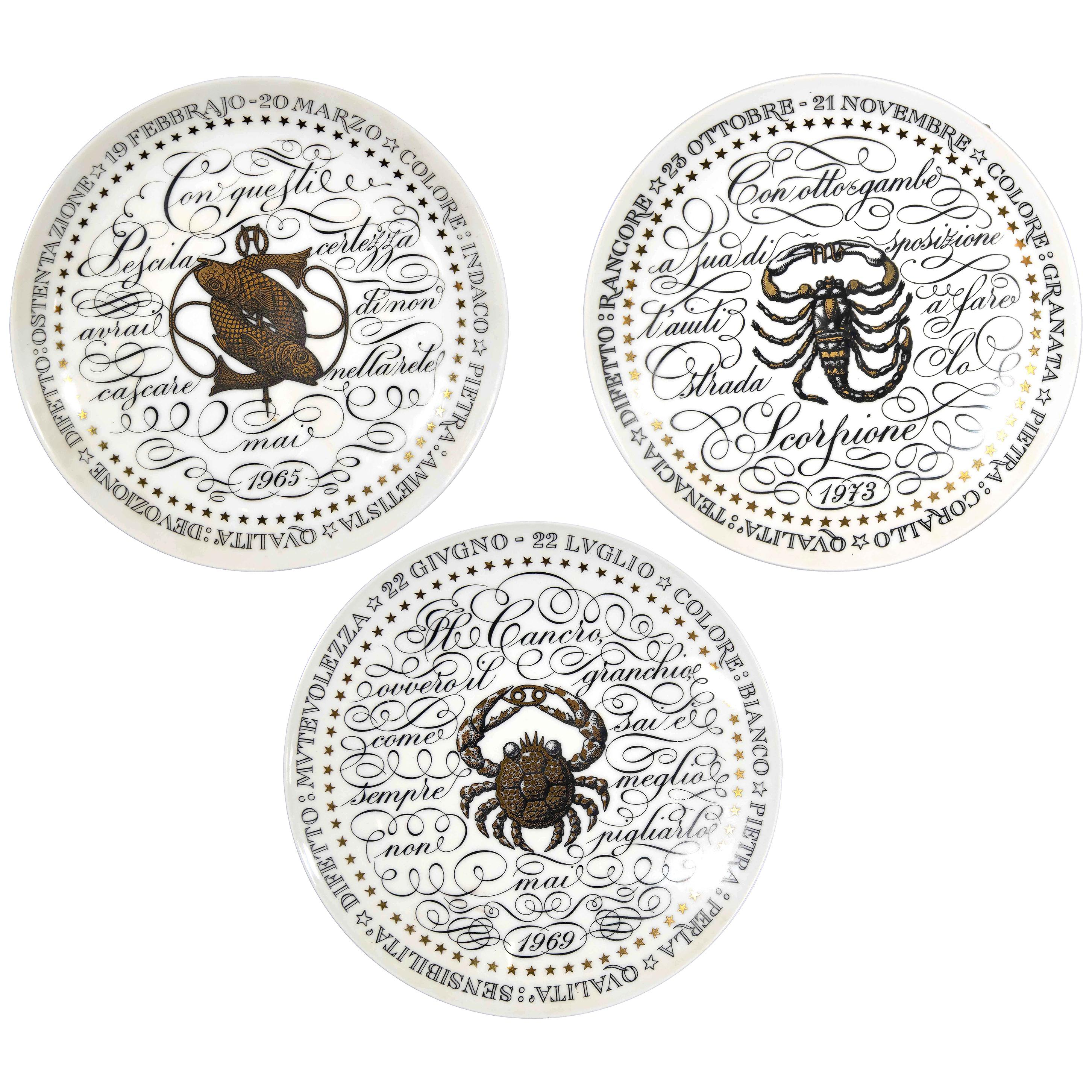 Water Signs, Set of 3 Plates from Zodiac Plate Series by P. Fornasetti, 1965
