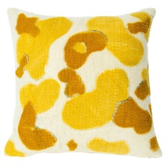 Water Stones Natural Felted Pillow, Corn Yellow Large
