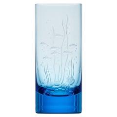 Water Tumbler Hand Engraved Water Life Motif #2 Aquamarine, 13.52 oz