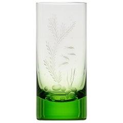 Water Tumbler Hand Engraved Water Life Motif #3 Ocean Green, 13.52 oz