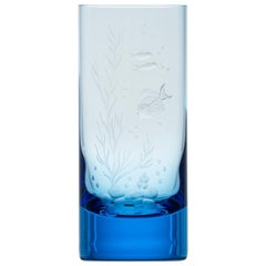 Water Tumbler Hand Engraved Water Life Motif #5 Aquamarine, 13.52 oz