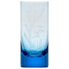 Water Tumbler Hand Engraved Water Life Motif #6 Aquamarine, 13.52 oz