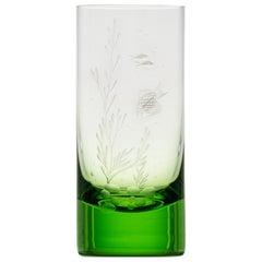 Water Tumbler Hand Engraved Water Life Motif #6 Ocean Green, 13.52 oz