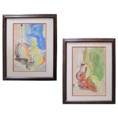 Pair of Watercolor Abstract Expressionist Still Lifes