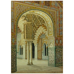 Watercolor Alcazar Palace of Seville by Fernando Liger Hidalgo 'Spanish'