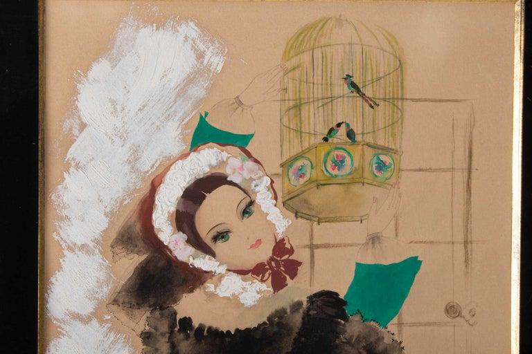 Watercolor, Belle Époque, 1900-1920, signed Renée Michele, Paris, Paper on paperboard Measures: H 51cm, W 39cm, W 1cm.