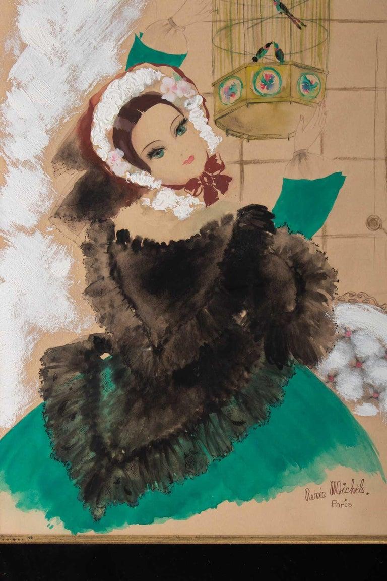French Watercolor, Belle Époque, 1900-1920, Signed Renée Michèle, Paris For Sale