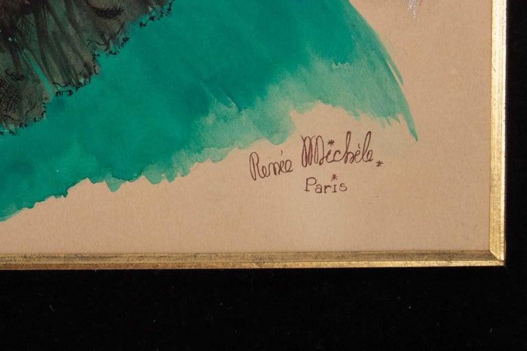 Painted Watercolor, Belle Époque, 1900-1920, Signed Renée Michèle, Paris For Sale