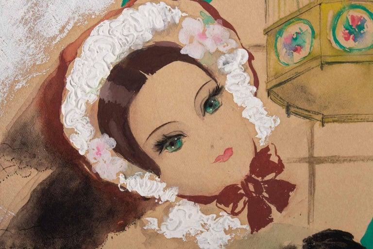 Watercolor, Belle Époque, 1900-1920, Signed Renée Michèle, Paris In Good Condition For Sale In Saint-Ouen, FR