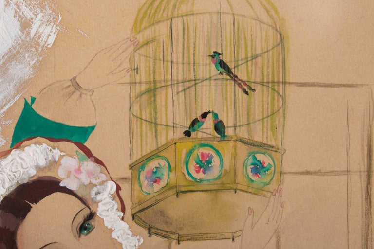 20th Century Watercolor, Belle Époque, 1900-1920, Signed Renée Michèle, Paris For Sale