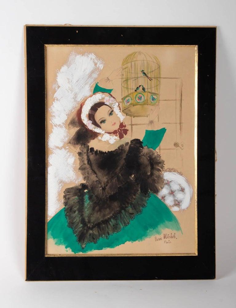 Paper Watercolor, Belle Époque, 1900-1920, Signed Renée Michèle, Paris For Sale
