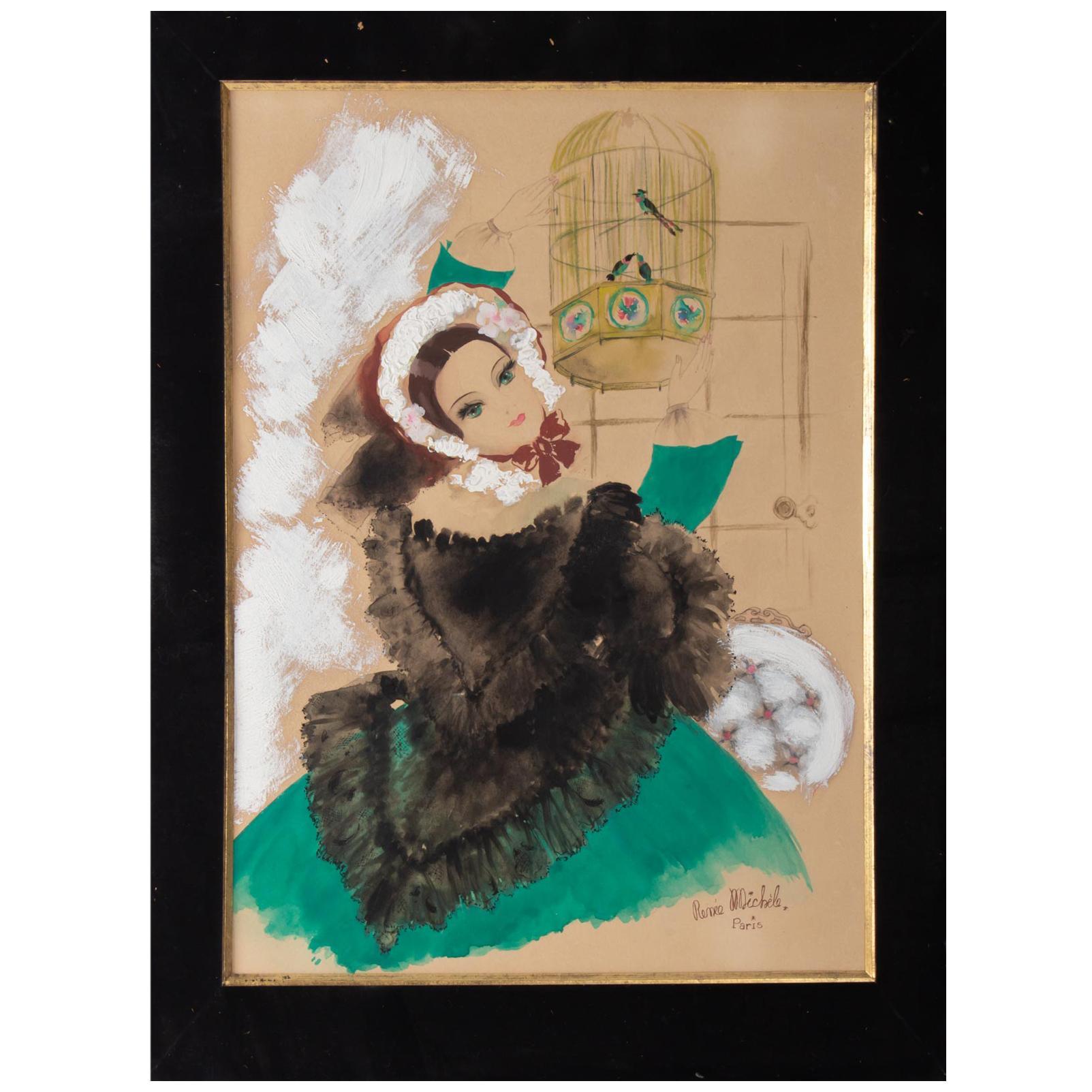 Watercolor, Belle Époque, 1900-1920, Signed Renée Michèle, Paris
