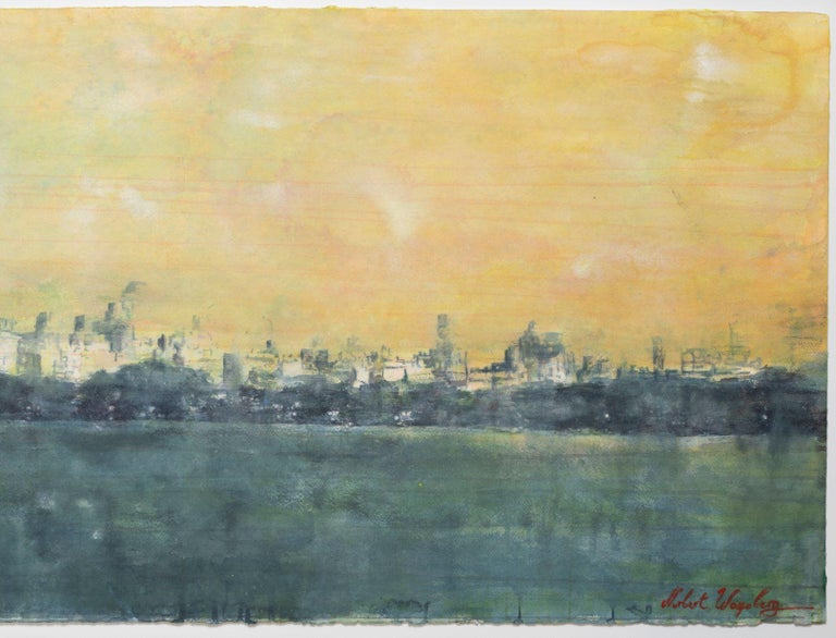 Watercolor by Contemporary Artist Norbert Waysberg, Central Park, NY, 2018 In Excellent Condition For Sale In Saint-Ouen, FR