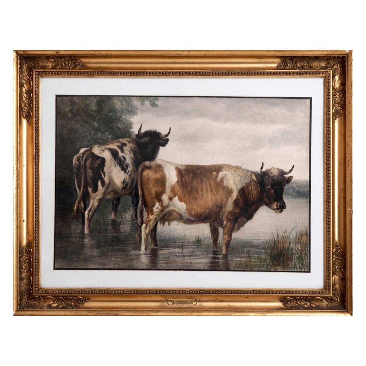 Watercolor by English Artist Thomas S. Cooper in Original Frame