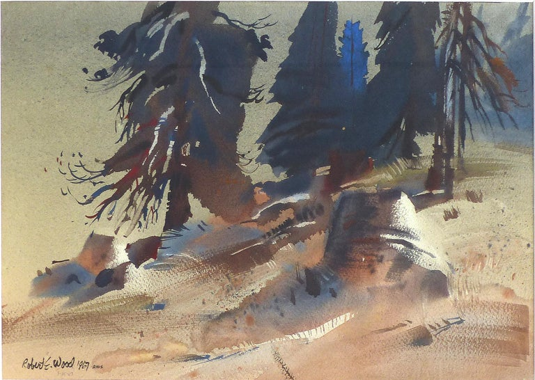 Robert E. Wood 1967 Watercolor, American California Artist   Offered for sale is an abstract watercolor of a landscape by California artist Robert E, Wood. Signed lower left and dated 1967. Born in Gardena, California, Robert E. Wood is known for