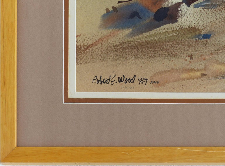 Hand-Painted Robert E. Wood 1967 Watercolor, American California Artist  For Sale