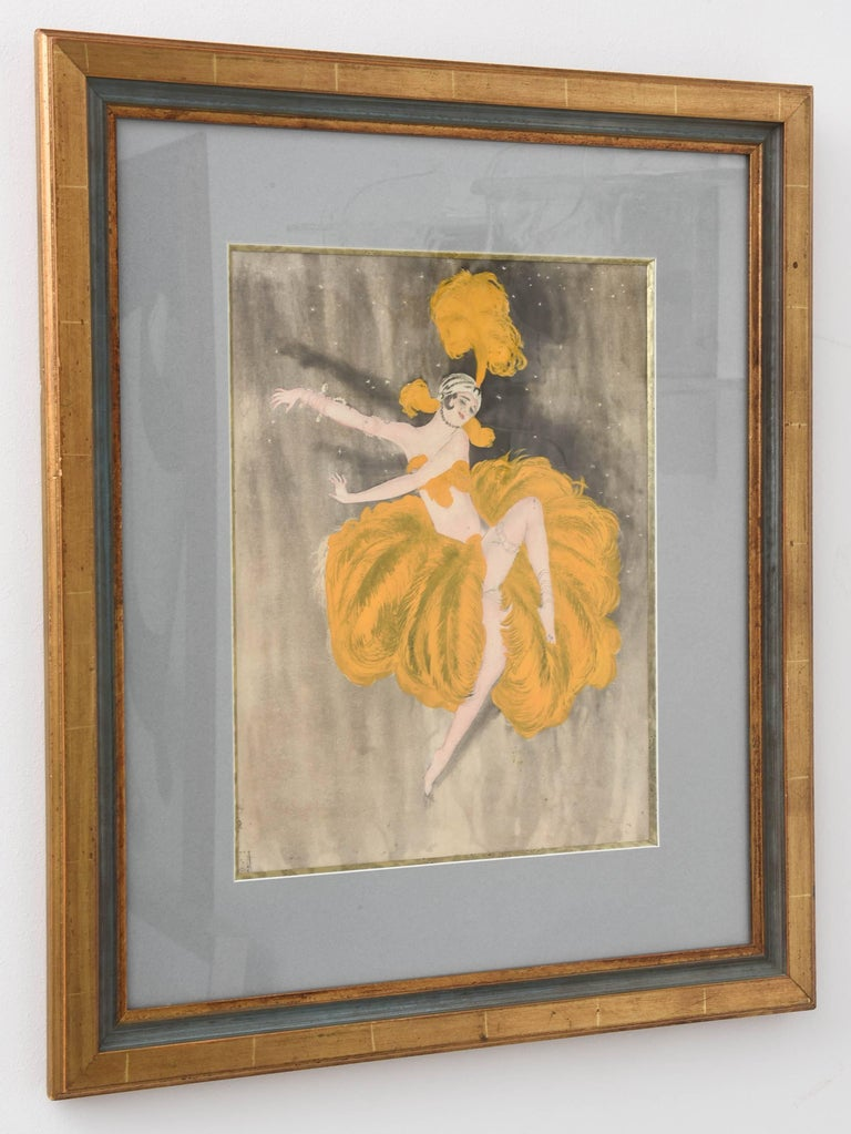 This stylish and beautiful pencil and watercolor drawing of an Art Deco burlesque dancer in her marigold-yellow colored ostrich plumes dances with grace and emotion across the stage. The piece captures the energy of the Art Deco period with its