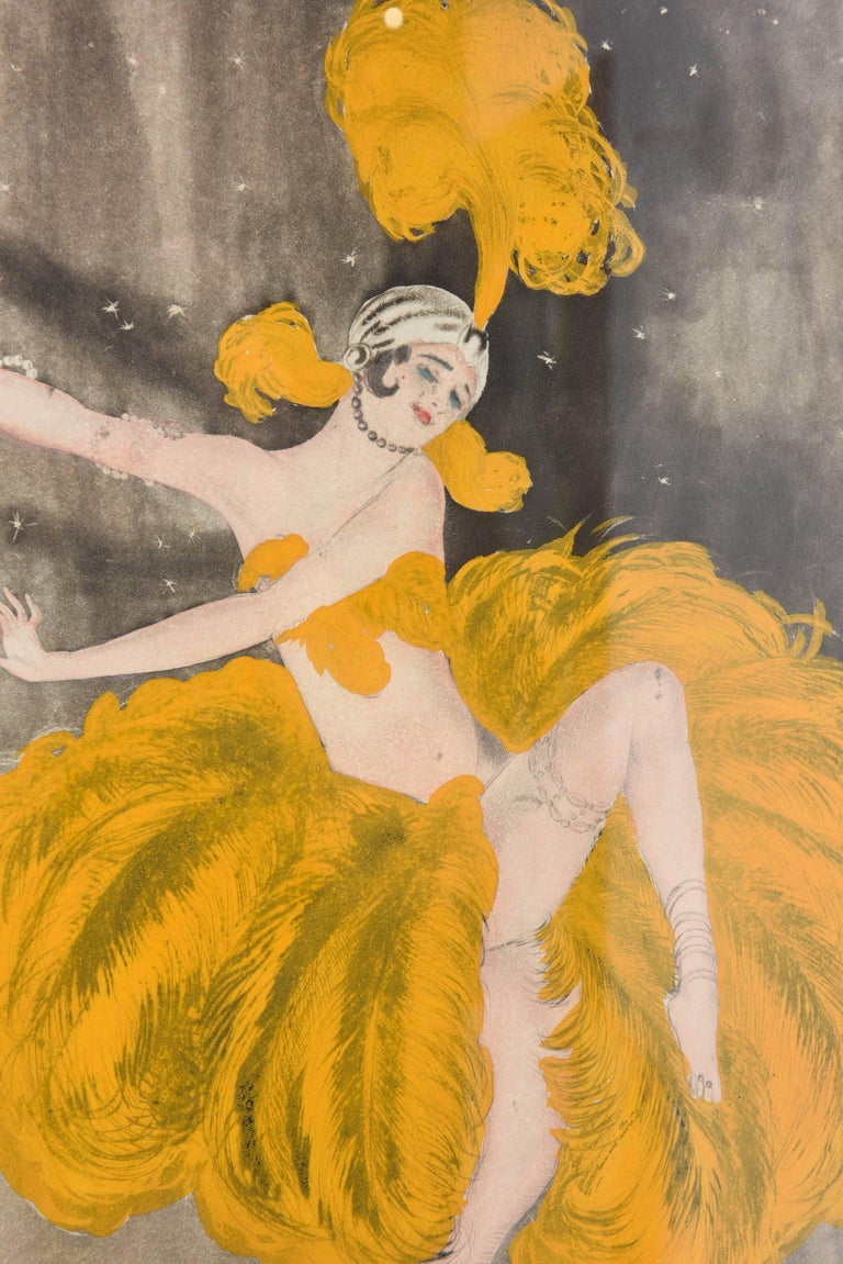 American Watercolor of a Art Deco Burlesque Dancer