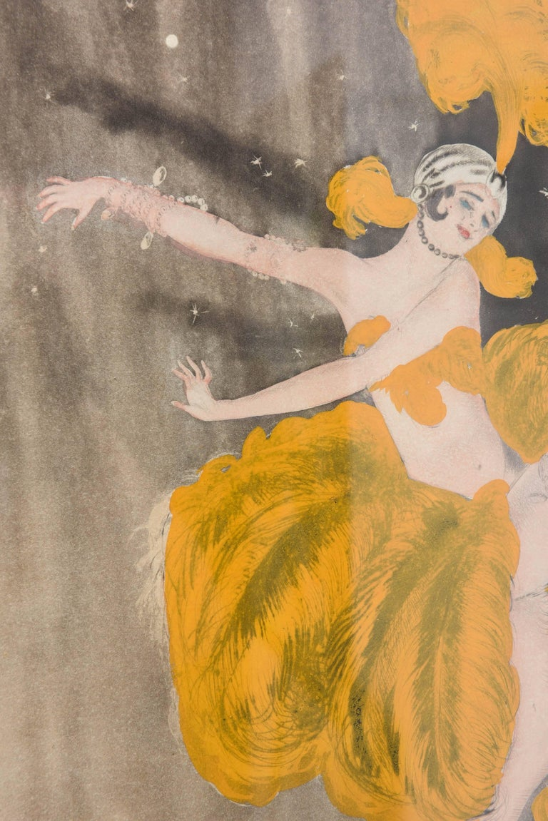 Watercolor of a Art Deco Burlesque Dancer In Good Condition In West Palm Beach, FL
