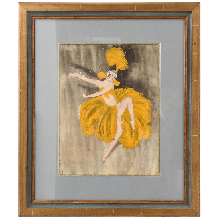 Watercolor of a Art Deco Burlesque Dancer