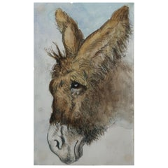 Watercolor of a Donkey by Edwin Landseer Grundy, C.1860