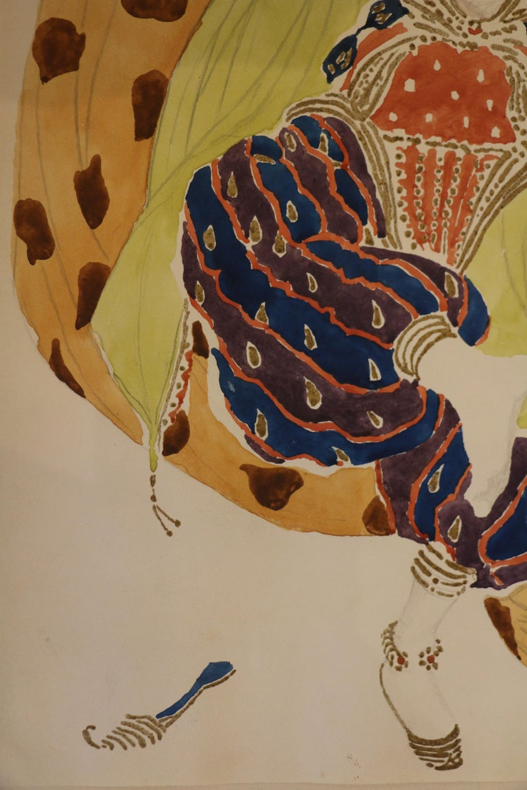 Watercolor of a Semi Nude Dancer for Scheherazade ballet by Bakst, France, 1910 For Sale 3
